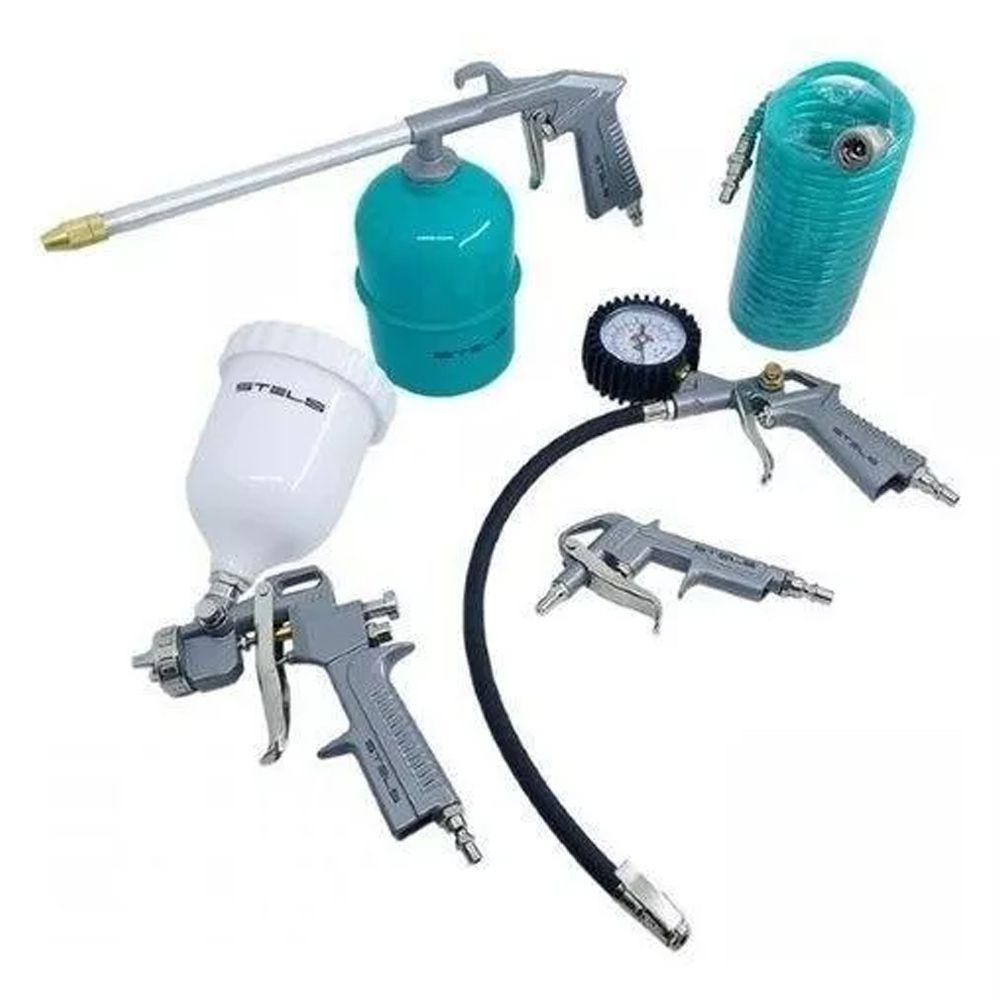 Acessórios P/compressor Stels 5pç Pistola Pintura Calibrador