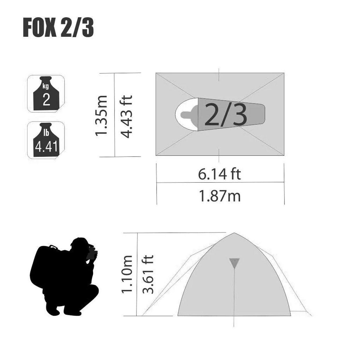 Barraca para camping Fox 2/3 NTK até 3 pessoas fácil de armar