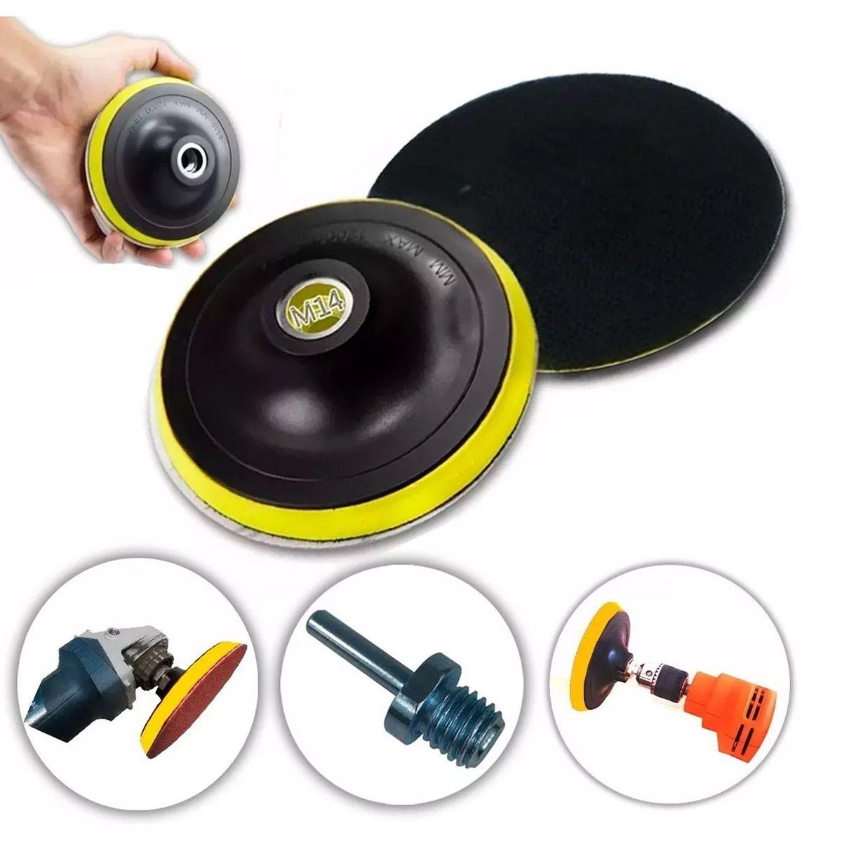 Base De Lixa Disco C/ Fecho De Contato 150 X M14 P/lixadeira Adaptador