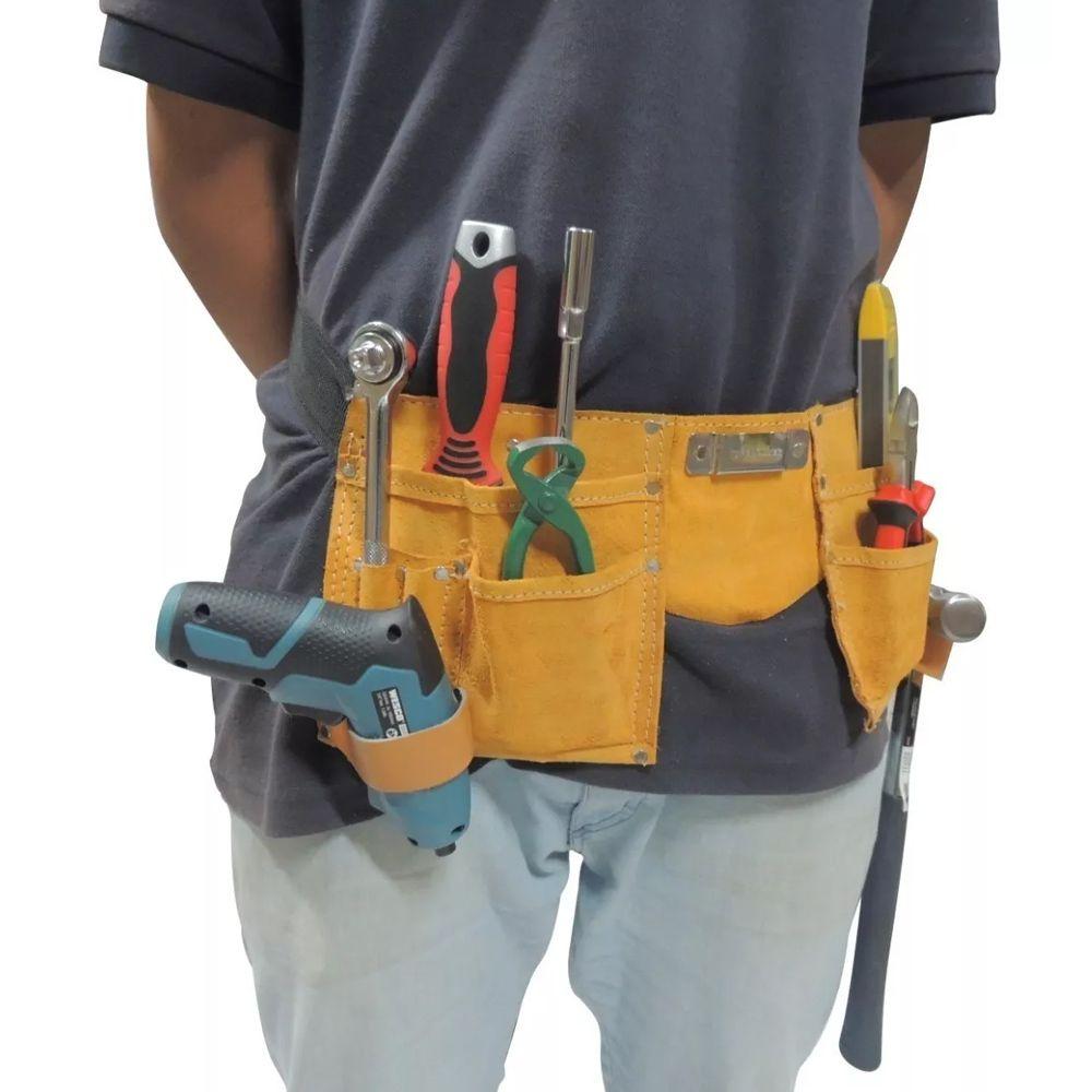 Bolsa Cinto Kit Ferramentas Eletricista Couro 11 Bolsos