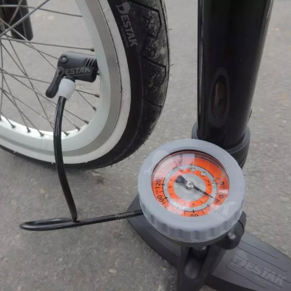 Bomba Ar Pneu Bicicleta Carro Moto Manômetro 160psi + Trava De Aço