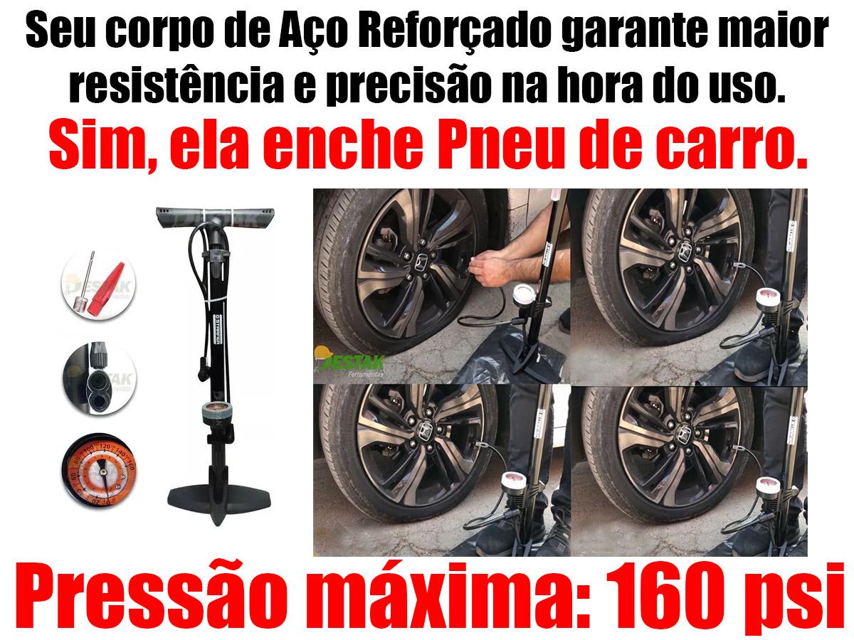 Bomba De Ar Manual Pneus Carro Moto Bicicleta 160psi Starfer
