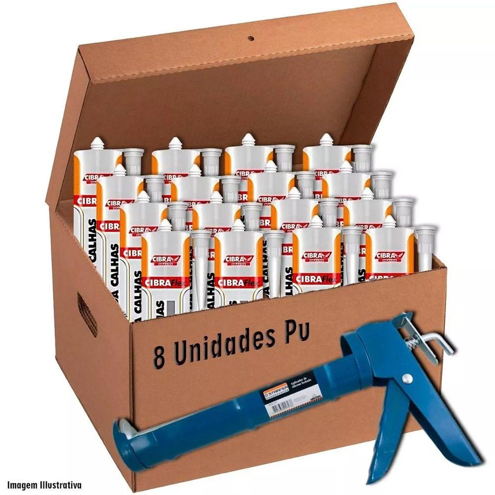 Caixa 8 Cola Super Selante Pu Calha 400g Cinza + 1 Aplicador