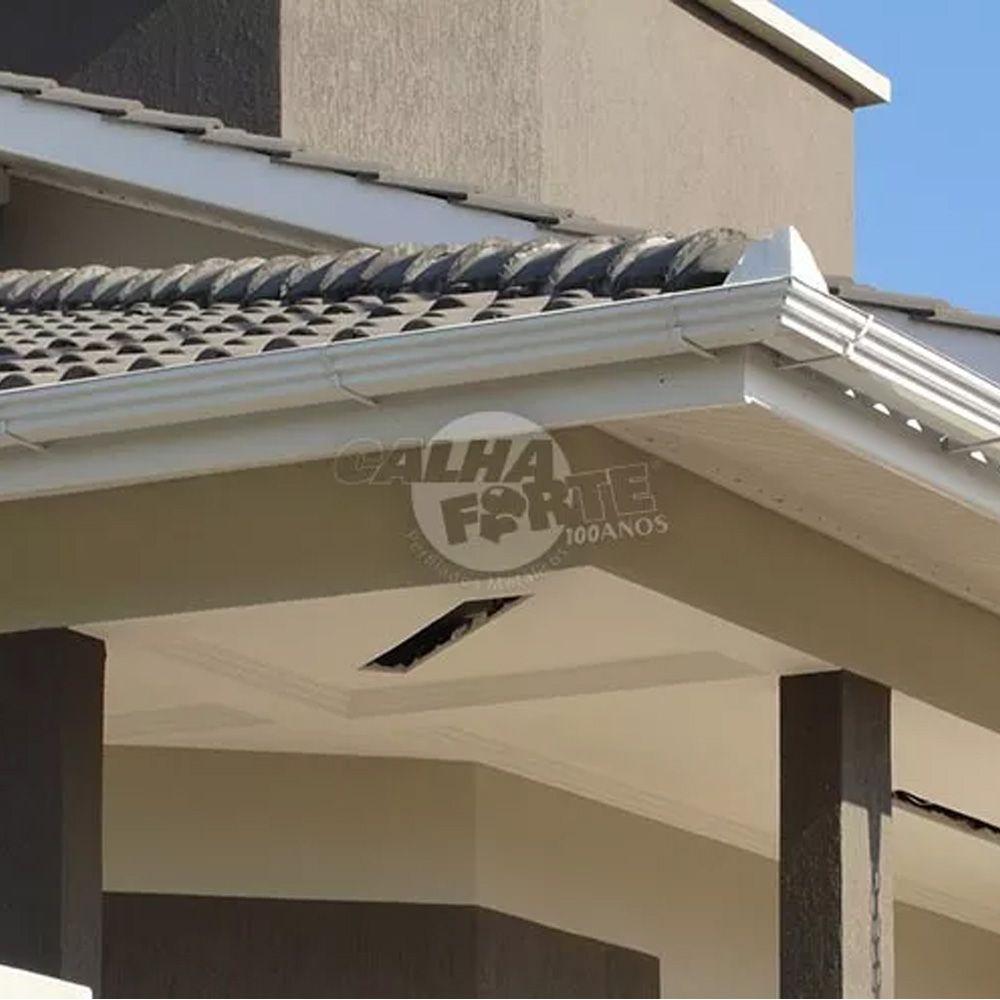 Calha Para 06 Metros Telhado Beiral Escoamento D'água Residencial Branco Galvanizado Corte 28