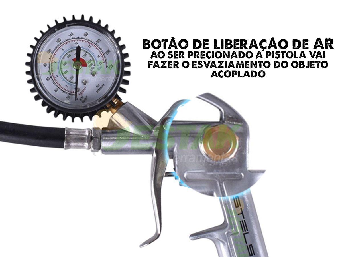Calibrador Para Pneus Stels C/ Manômetro Bico Forte Stels