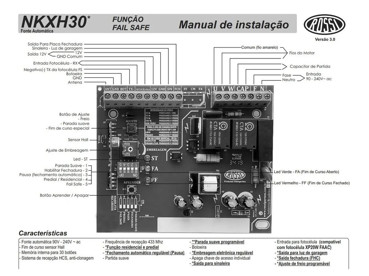 Central Placa Motor Portão Correr Nkxh30fs Sensor Hall Rossi