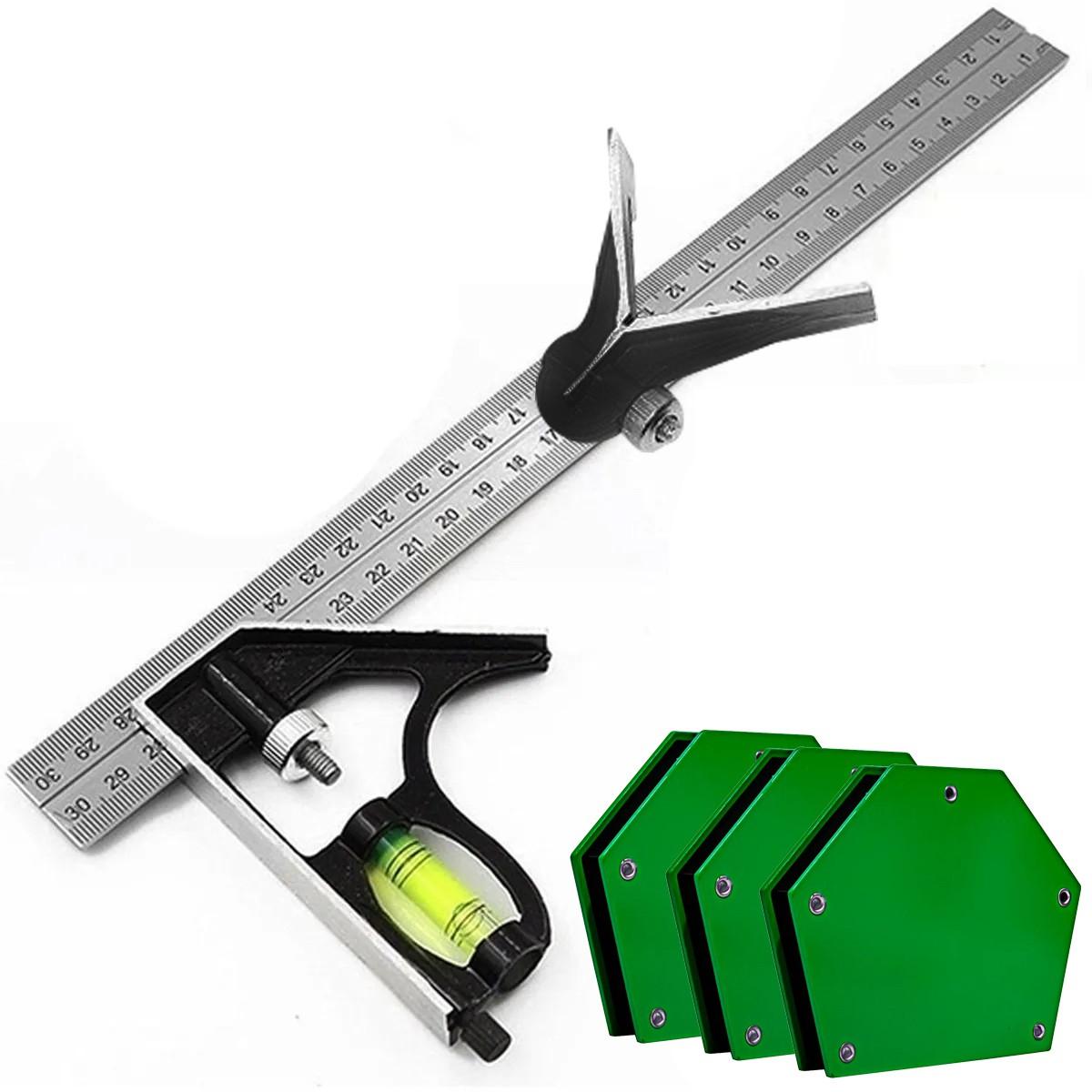 Combo 4 Esquadro Combinado E Magnético Para Madeira E Solda