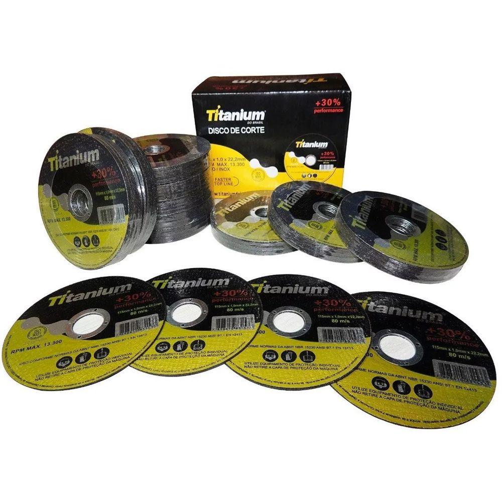 Disco De Corte Aço/inox 4 1/2 Titanium 100 Peças