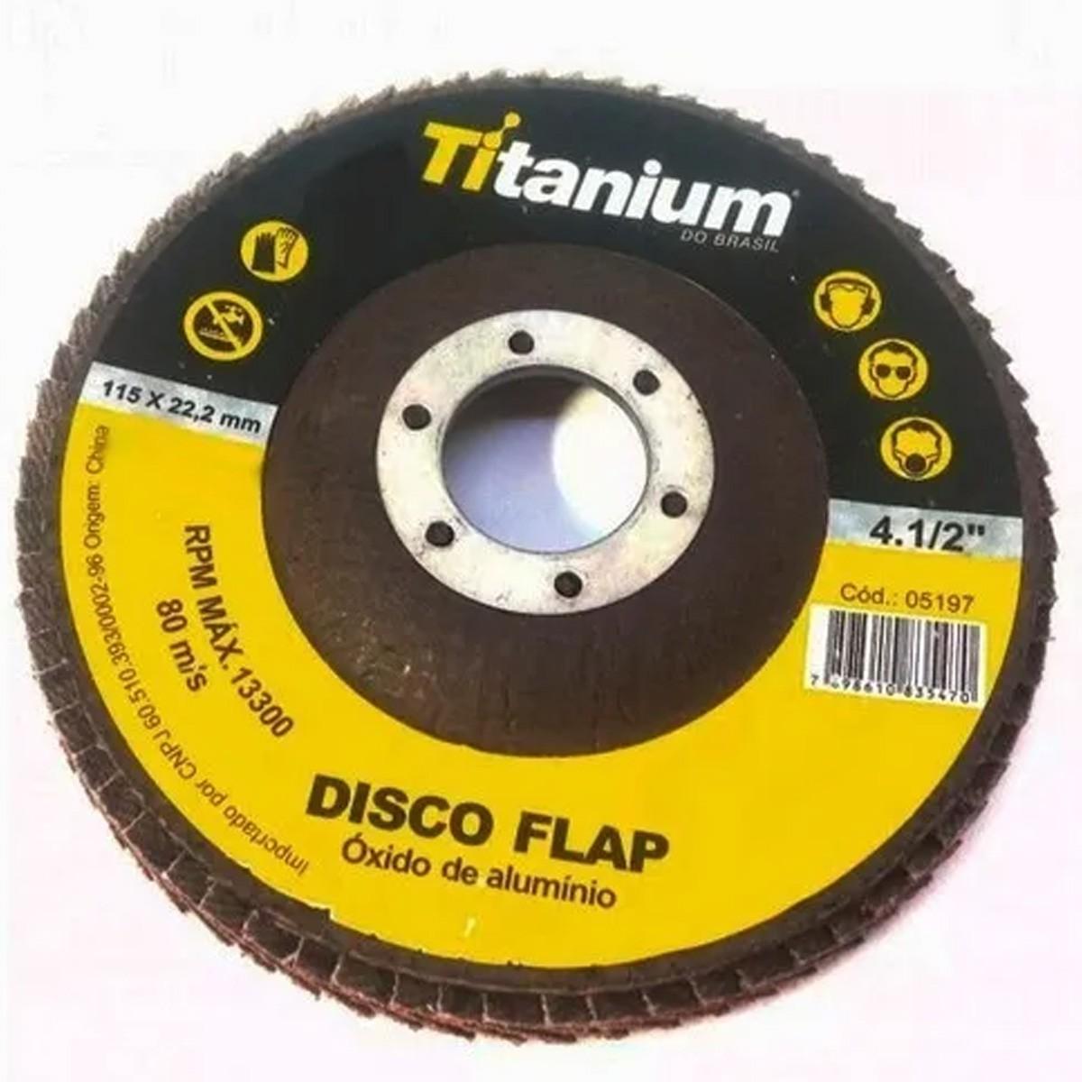 Disco Flap De 4-1/2 Pol. Com Grão 60 Titanium 20 Peças