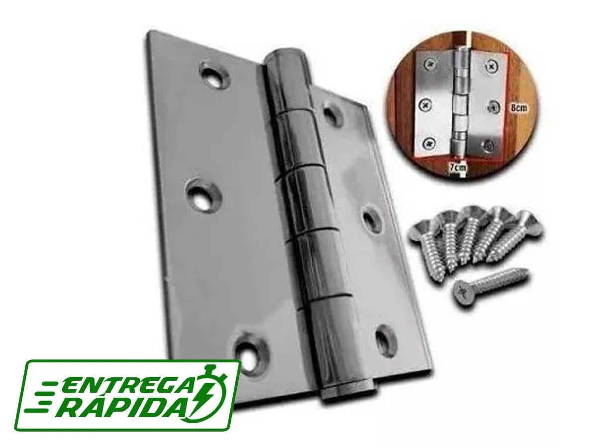 Dobradiça Portão Reforçada 2,5mm 3 Polegadas Titanium 3pçs
