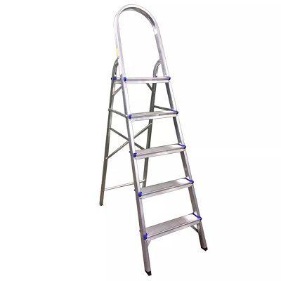 Escada Doméstica Alumínio Forte 5 Degraus Antiderrapante