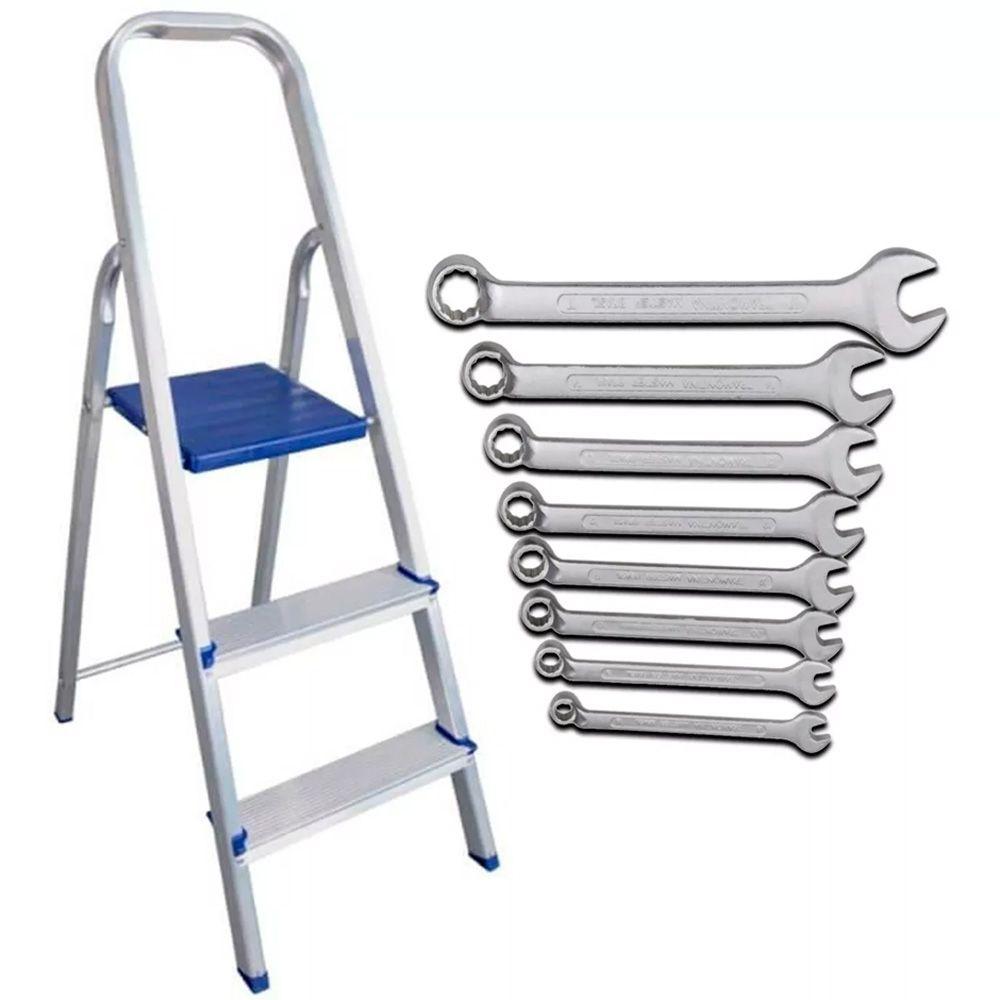 Escada Profissional Alumínio 3 Degraus 120kg + Kit 8 Chaves