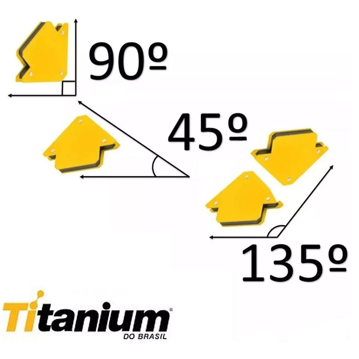 Esquadro Magnético Até 12kg 45°, 90°, 135 + 3 Grampo Tipo C