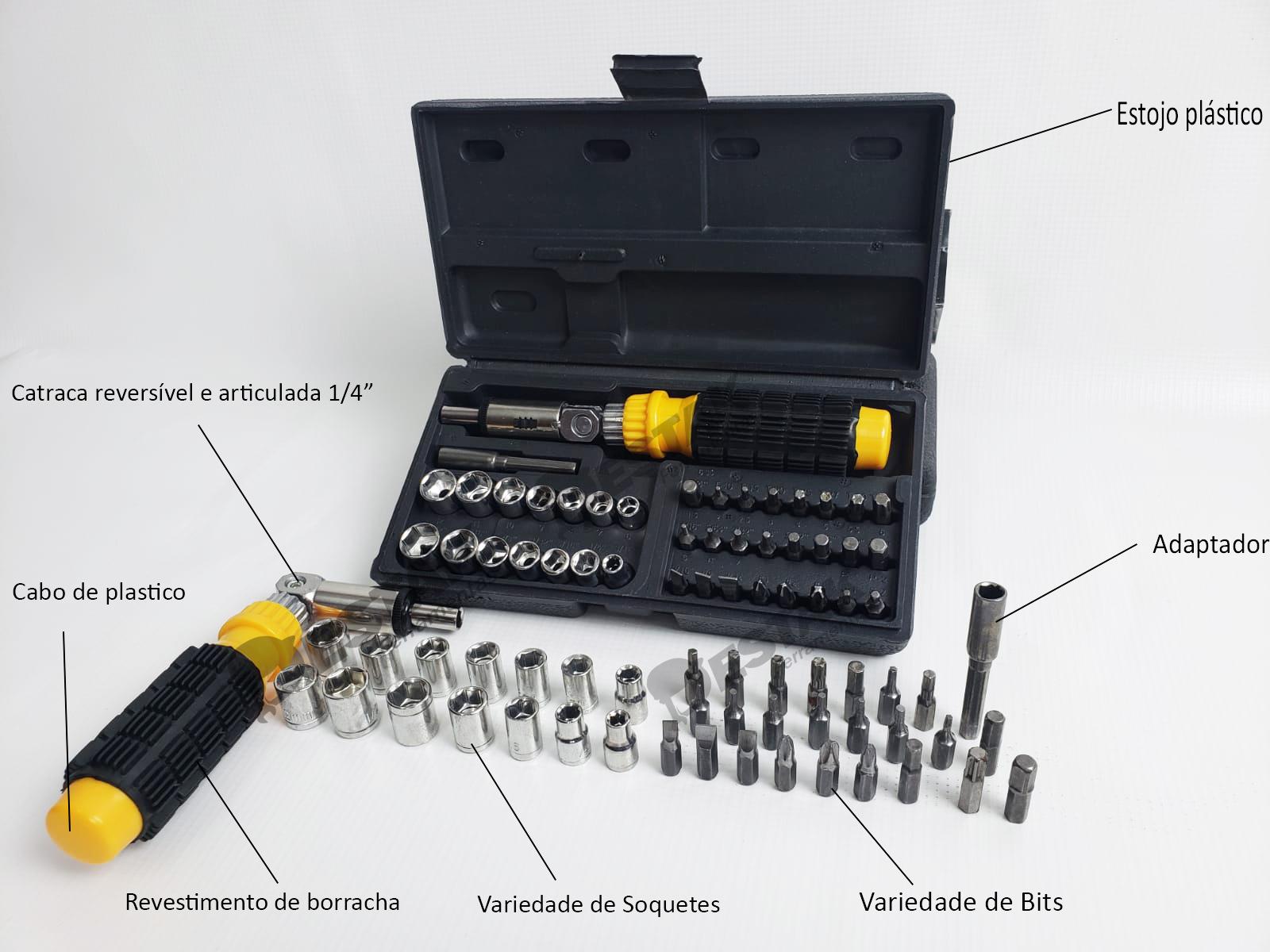 Estojo Kit 40 Ferramentas Chave Catraca E Soquetes + Allen