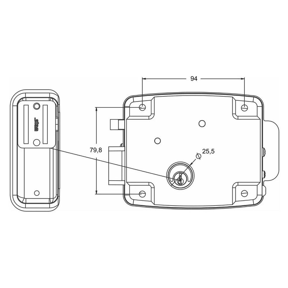 Fechadura Eletrica Stam Cil 40mm (abre Para Dentro ) Grafite