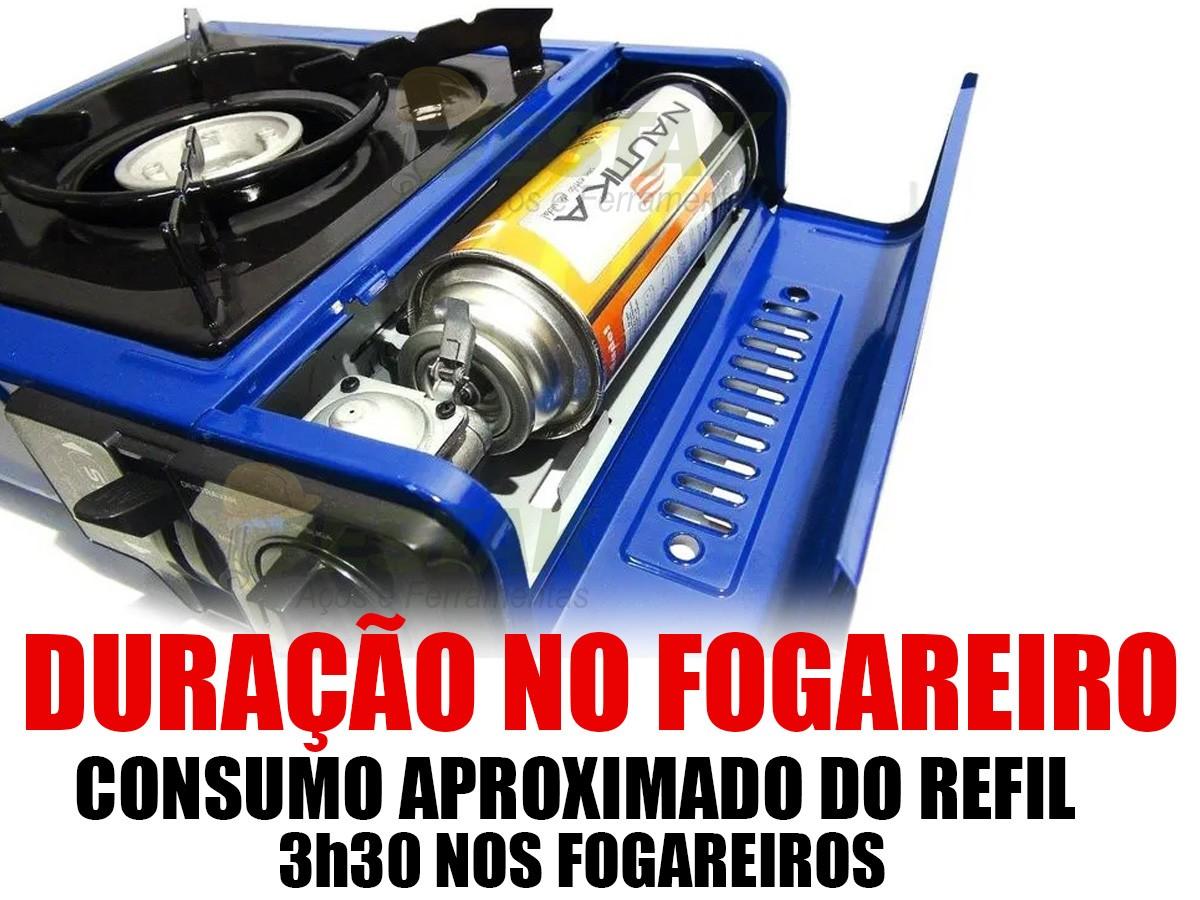 Fogão Portátil Nautika Duo Ceramik Fogareiro + Kit 4 Gas
