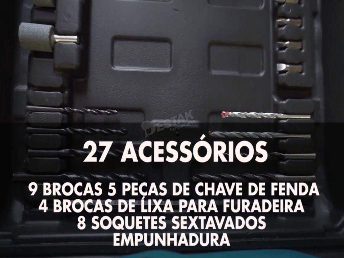 Furadeira Impacto Com Maleta Forte 750w C/ 27 Pçs Acessórios + Brinde
