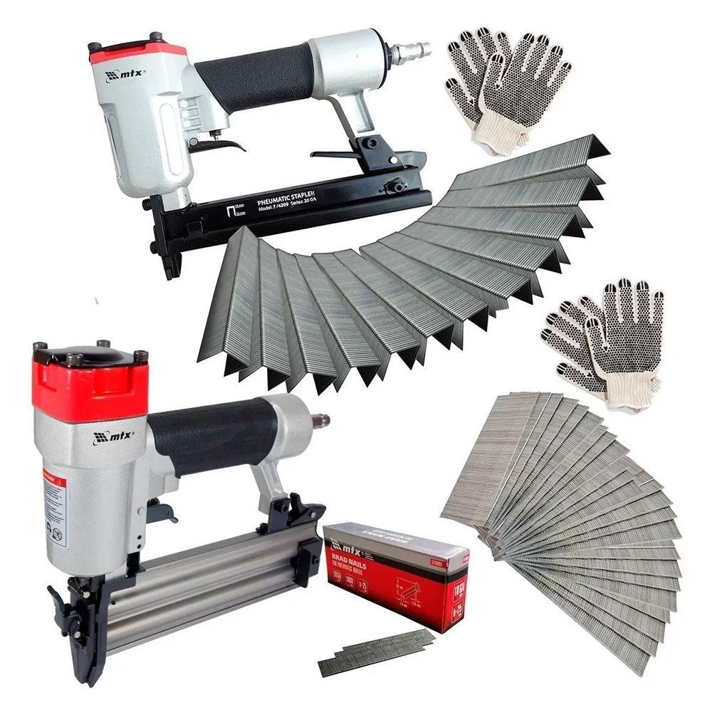 Grampeador E Pinador Pneumático Com 1000 Pinos E Grampos