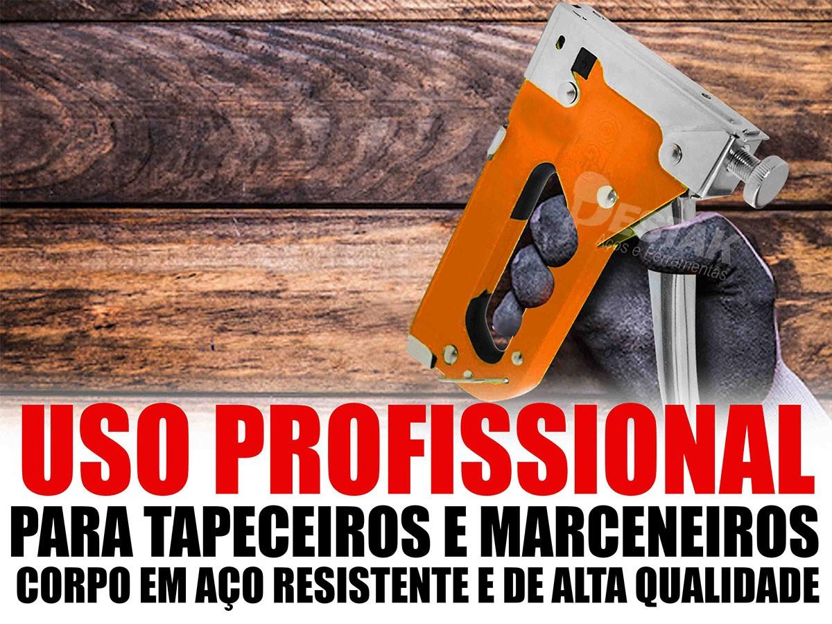 Grampeador Tapeçeiro Manual C/ Maleta c/ 1500 Grampos Mtx
