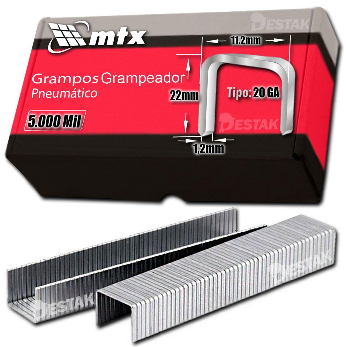 Grampo Para Grampeador 22mm Aço Carbono 5.000 Unidades Mtx