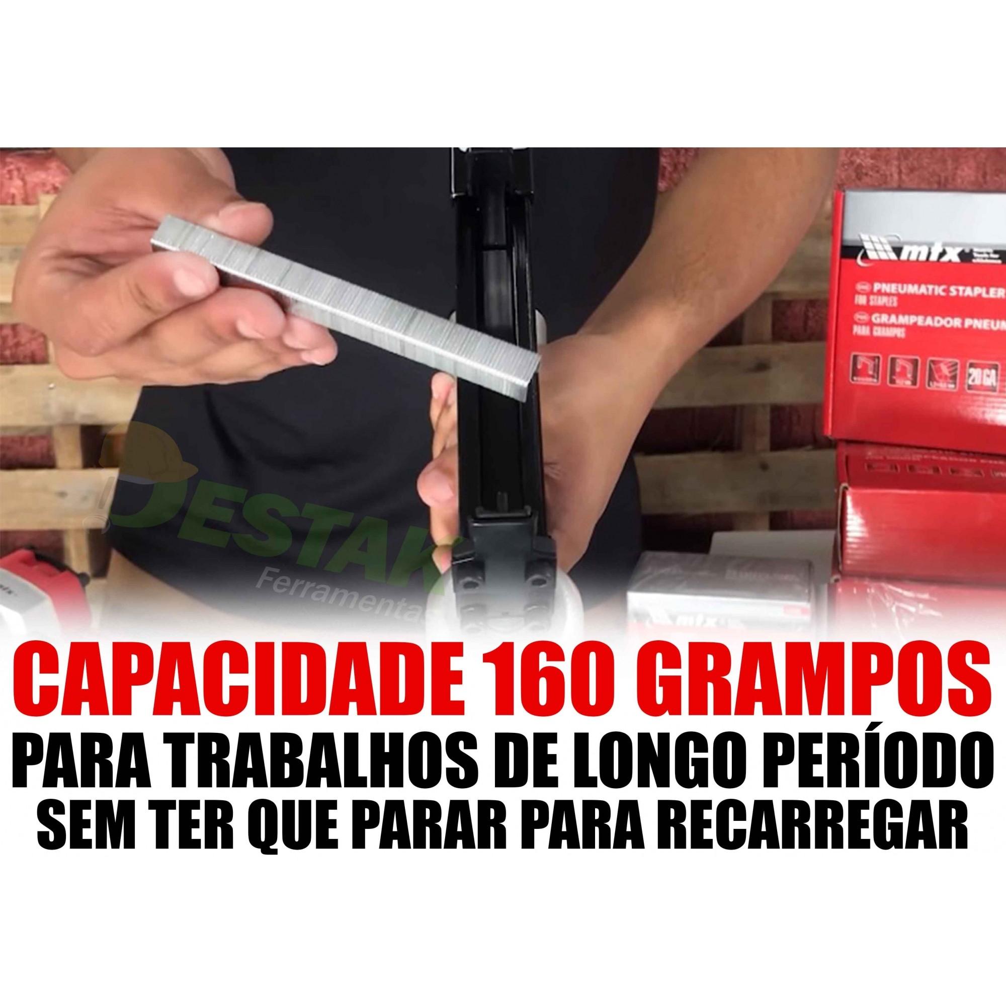 Jogo Grampeador Pneumático 100psi Mtx C/mil Grampos + Bônus