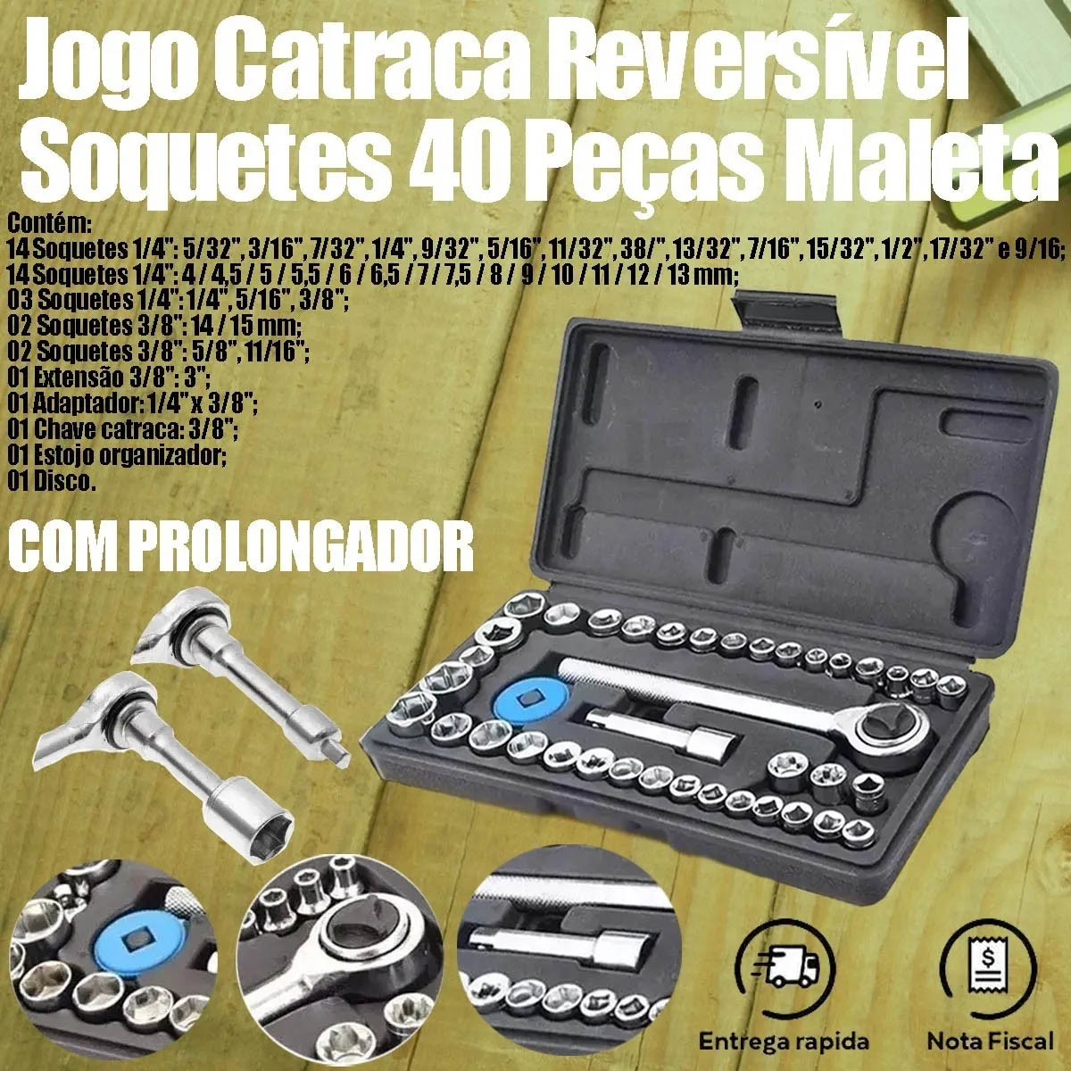 Jogo Soquete Sextavado Catraca 40pçs + Chave Inglesa 450mm