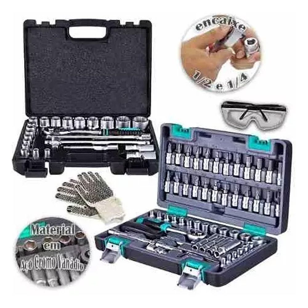 Jogo Soquetes 24 E 57 Pçs 1/2 E 1/4 Reversível C/maleta Gold