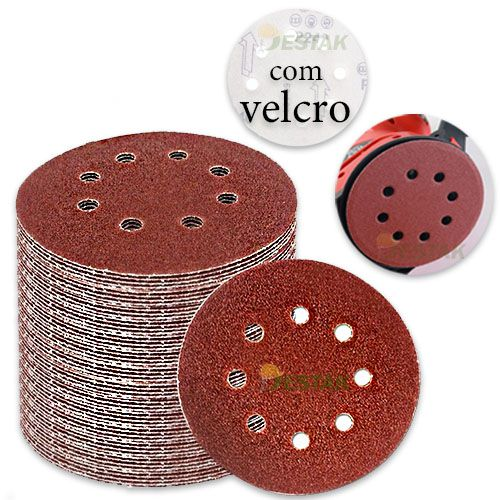kit 10 Disco de lixa C/ velcro diametro de 125mm grão 40#