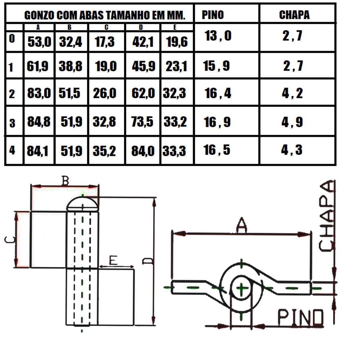 Kit 25un Gonzo Dobradiça Portão C/Aba Nº 2