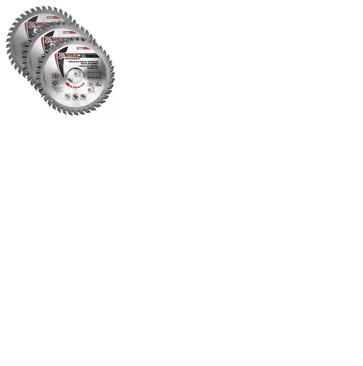 Kit 3 Discos De Serra Circular 40 Dentes Em Widea P/ Madeira