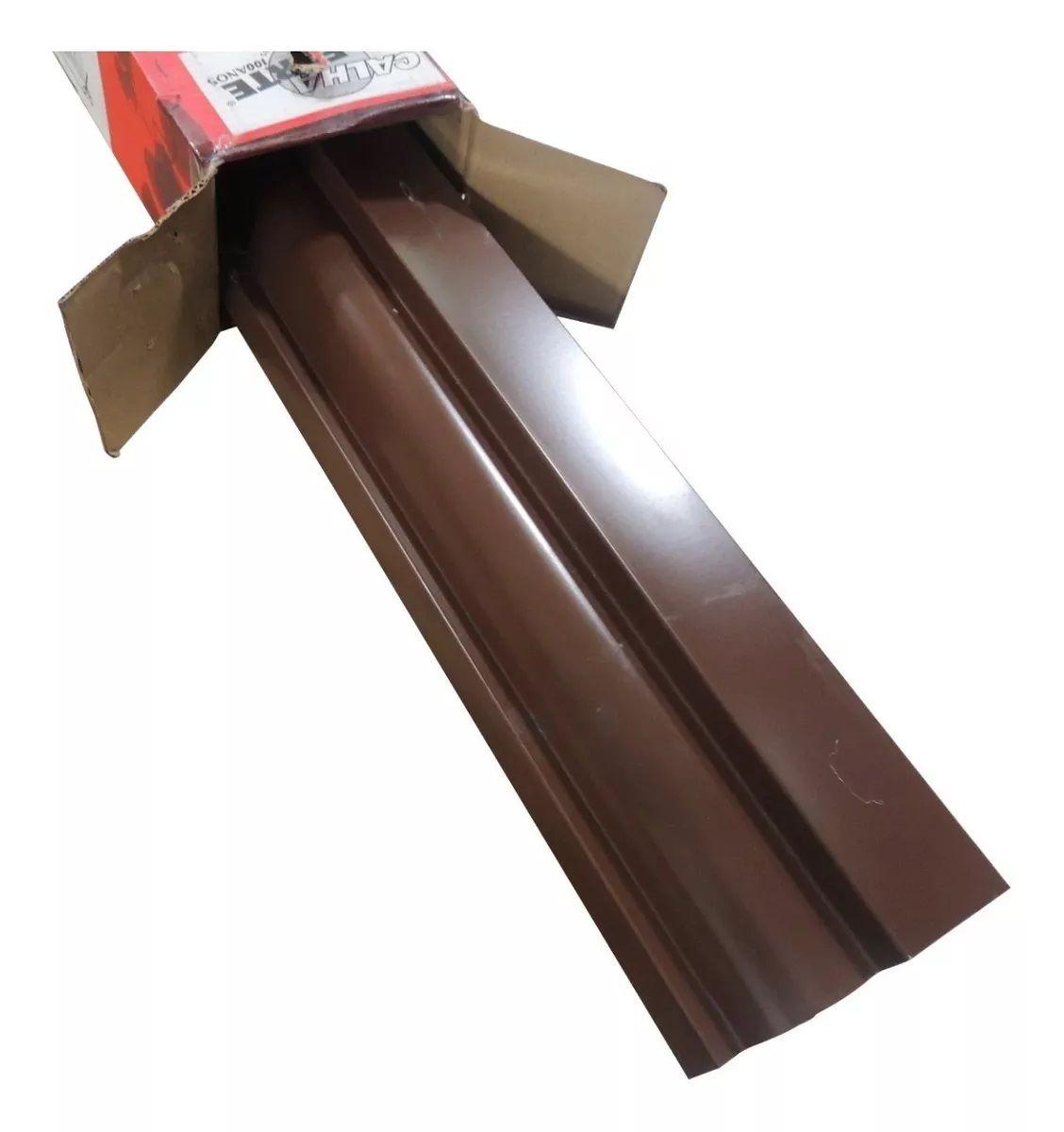 Kit Calha Telhado Beiral 12m Calha Marrom 52pçs + Protetor
