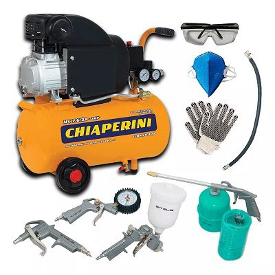 Kit Compressor Ar 2hp 7.6 Pés 21l Acessórios Pneumáticos 5pç 127v