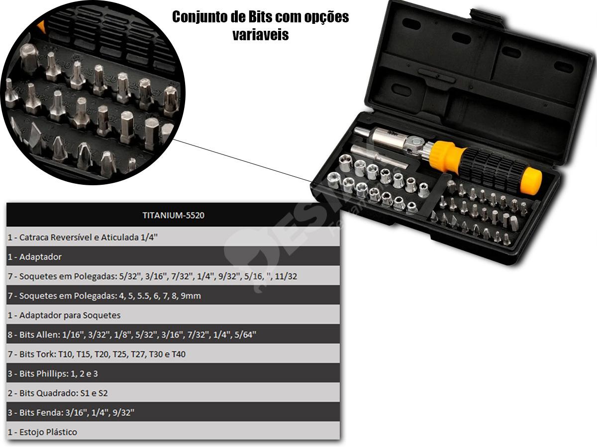 Kit Ferramentas 200 Peças Titanium + 43 Brocas E 40 Soquetes