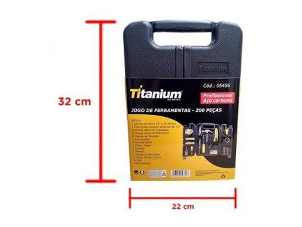 Kit Ferramentas C/200 Pçs Titanium Linha Profissional