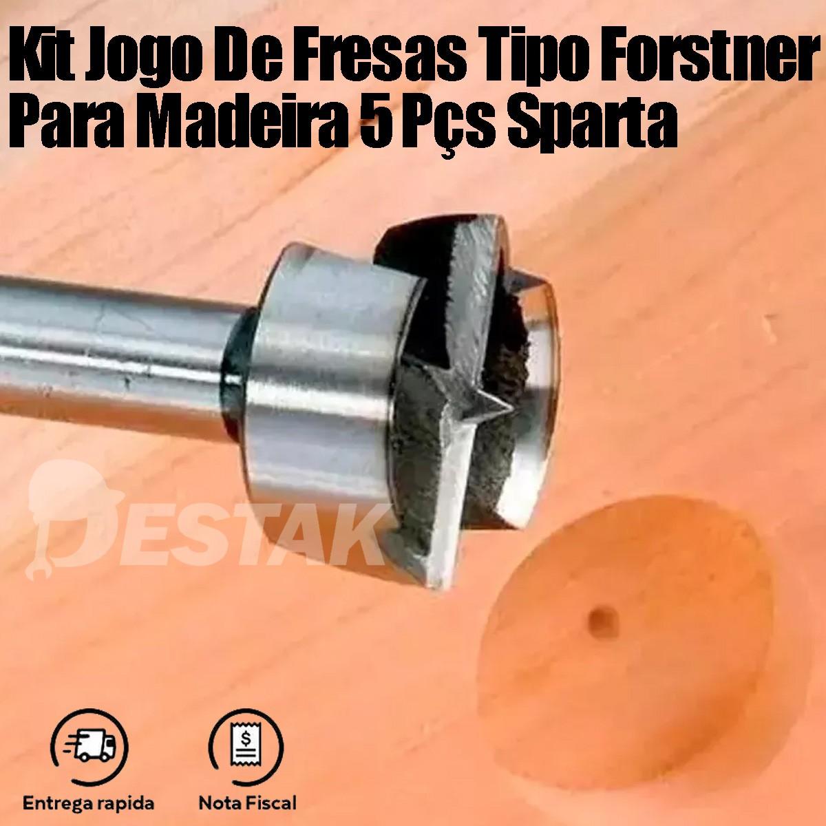 Kit Jogo De Fresas Tipo Forstner Para Madeira 5 Pçs Sparta