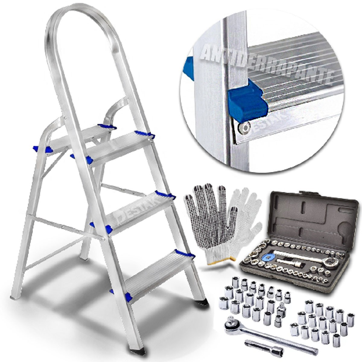 Kit Maleta 49 Ferramenta Escada Doméstica Alumínio 3 Degraus
