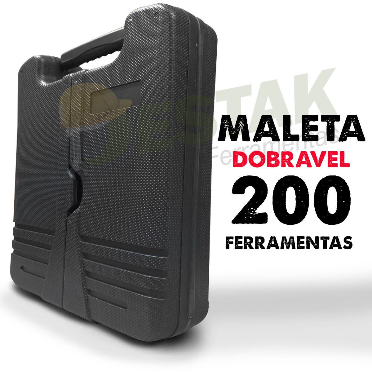 Kit Maleta Ferramentas 200 Acessórios + Chave Fixa 6 Peças