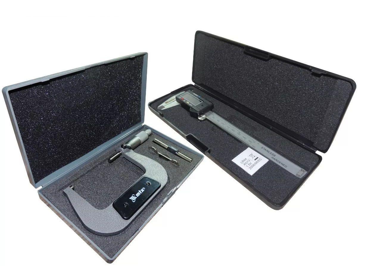 kit Micrometro Mecânico 75 - 100 Mm C/ Estojo Mtx + Paquimetro