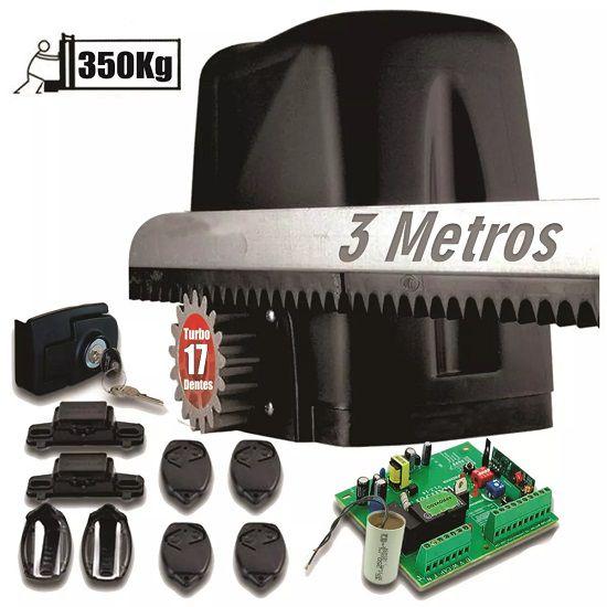 Kit Motor 1/5hp Dz Atto Turbo Portão 350kg 3crema 4 Controle