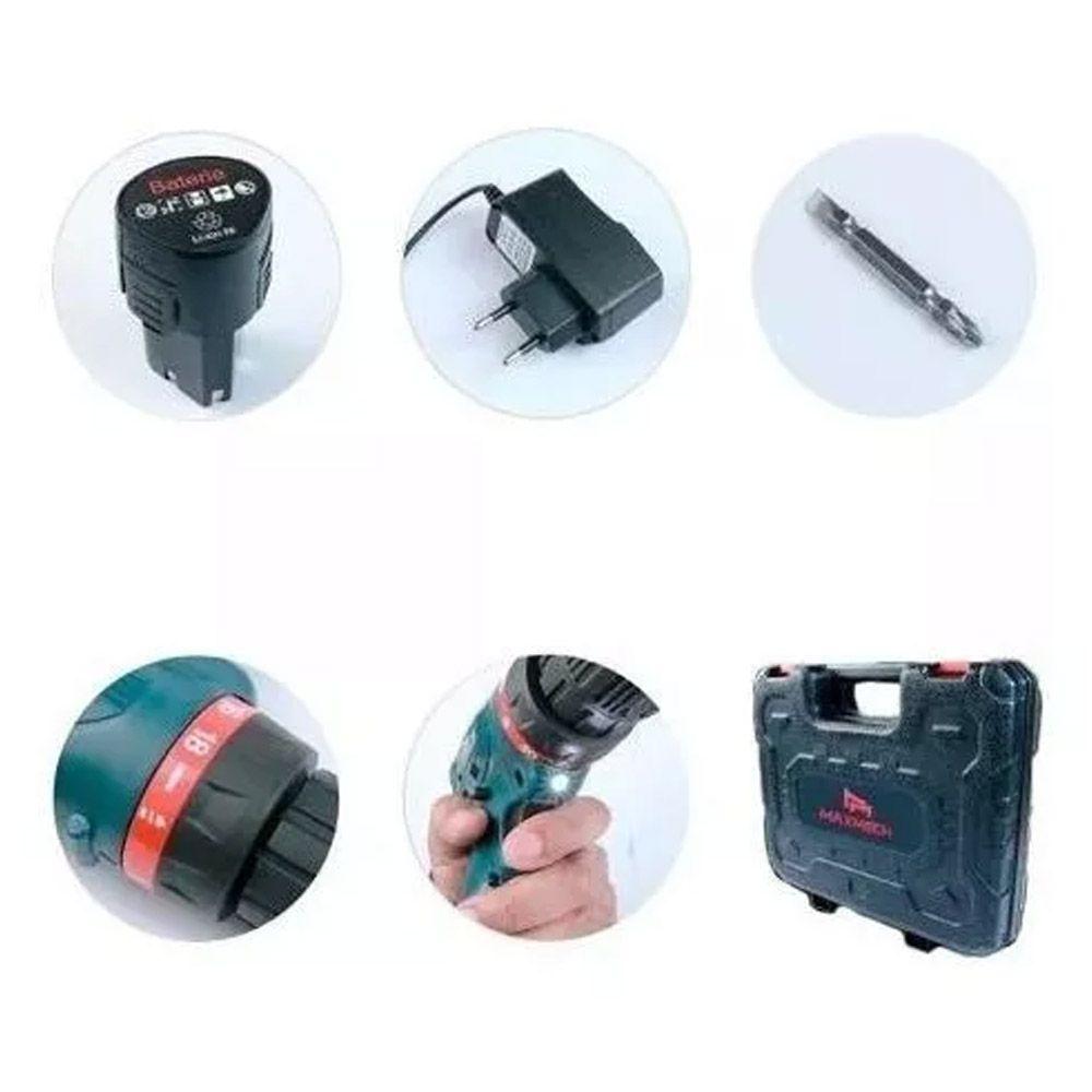 Kit Parafusadeira Furadeira 12v A Bateria C/maleta + Brocas