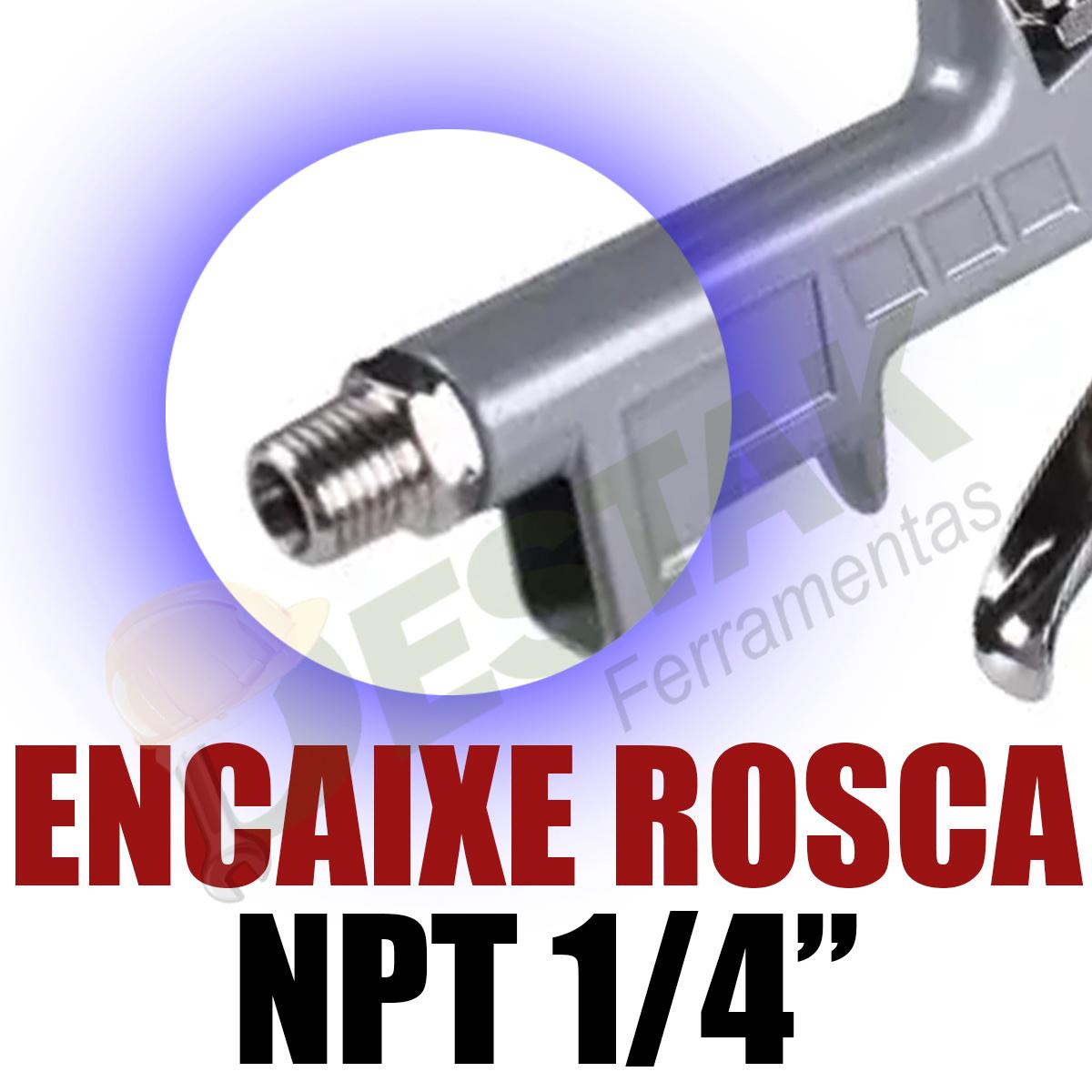 Kit Pistola Pintura Hvlp Stels 600ml + Mangueira Engate Npt