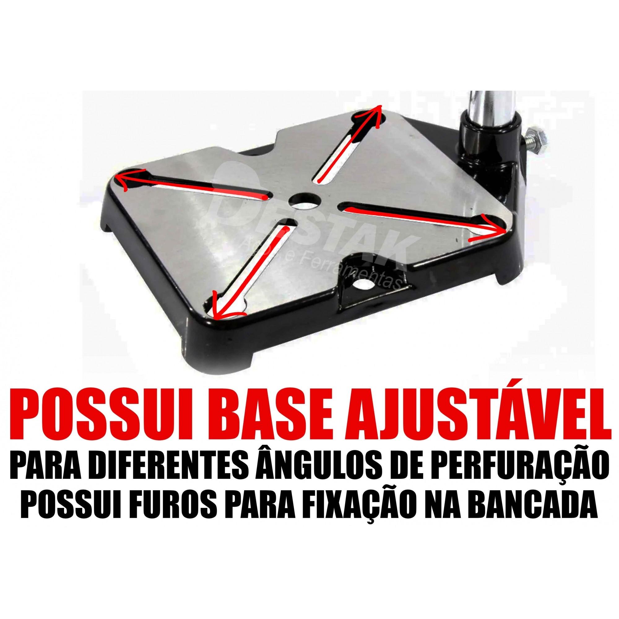 Kit Suporte Furadeira Elétrica 1/2 E 3/8 Morsa Brocas Maleta