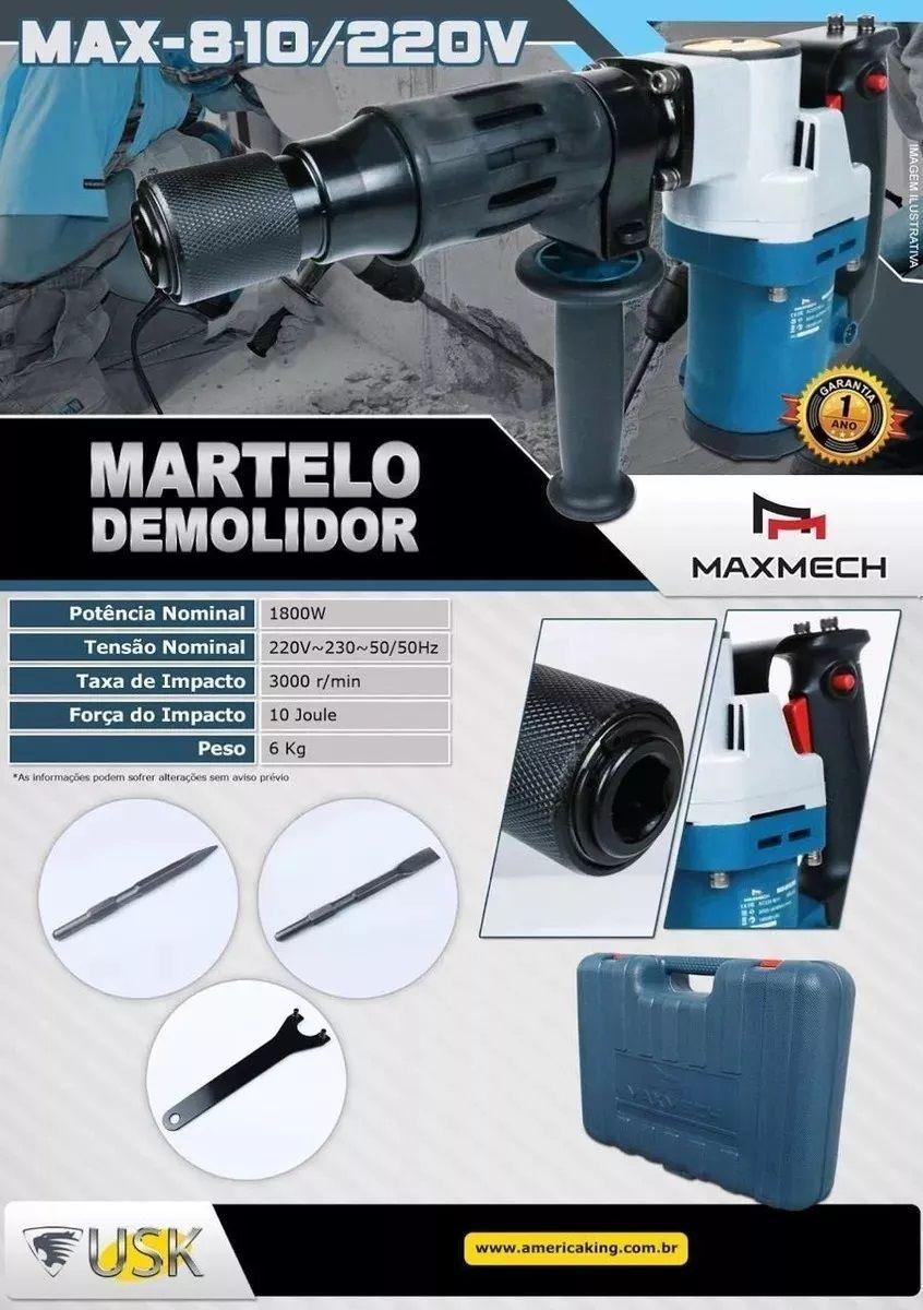 Martelo Forte Demolidor Maxmech0810-1800w 220v 10joules