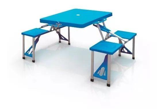 Mesa Dobravel C/ Cadeira Camping Em Maleta Importway