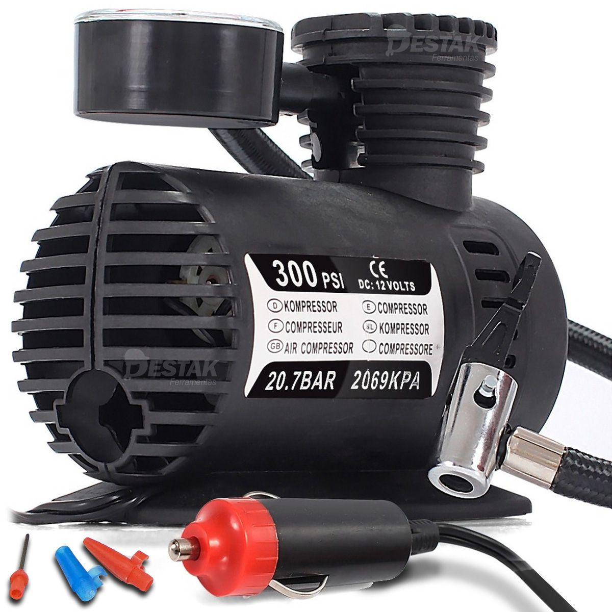 Mini Compressor De Ar Automotivo Multiuso 12v 300psi