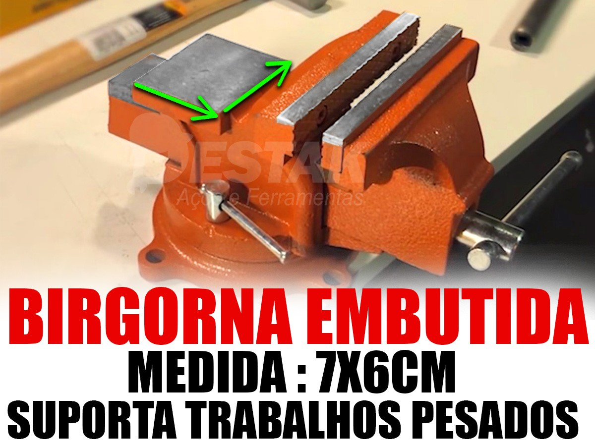 Morsa Torno Bancada Aço Base Giratória 125mm + 40 Brocas Aço