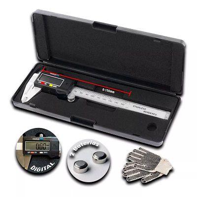 Paquímetro Digital 150mm Aço Inox P/medição Precisa 0.01mm