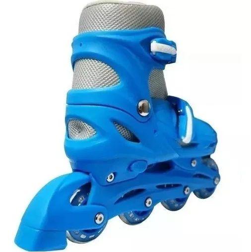 Patins Masculino Feminino 4 Rodas Ajustável Azul Importway 35 a 38