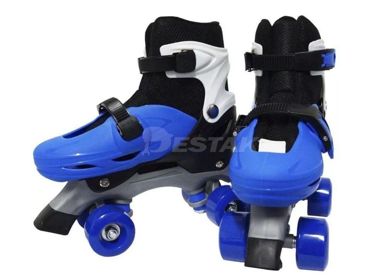 Patins Roller Infantil Tamanho 35 A 38 Ajustável Azul