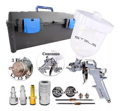 Pistola Pintura Compressor Ar Maleta 3 Bicos Engate Rápido